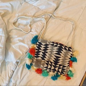 NWT. ROXY | Mutli Colored Tassel Crossbody Bag